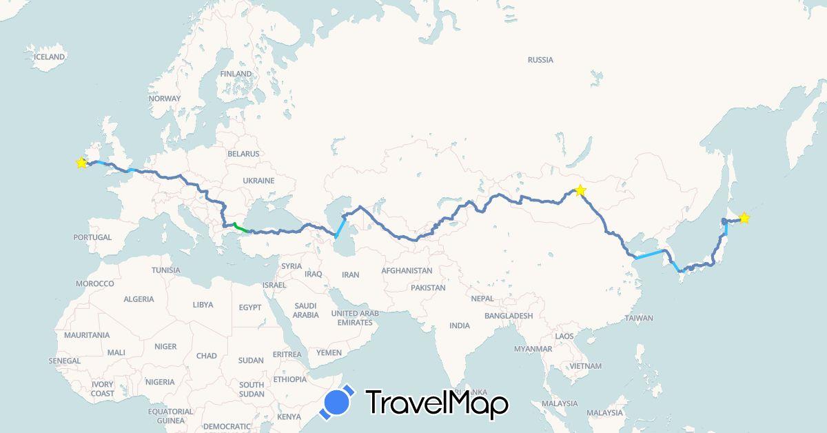 TravelMap itinerary: bus, cycling, boat in Azerbaijan, Belgium, Bulgaria, China, Czech Republic, Germany, France, United Kingdom, Georgia, Hungary, Ireland, Japan, Kyrgyzstan, South Korea, Kazakhstan, Mongolia, Romania, Serbia, Slovakia, Tajikistan, Turkey, Uzbekistan (Asia, Europe)